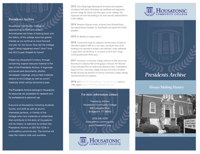 This brochure provides information on the Presidents Archive